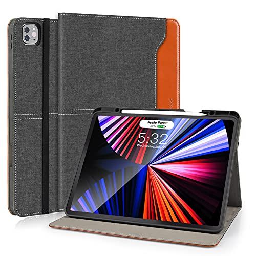 DLveer Hülle für Neu iPad Pro 12.9 2021 5. Generation mit Stifthalter, PU-Leder + Soft TPU Rückseite Ständer Schutzhülle mit Auto Schlafen/Wachen für iPad Pro 12.9 Zoll 2021,Denim Schwarz