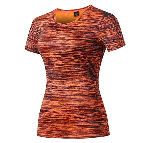 emansmoer Femmes Manches Courtes Quick Dry Wicking Respirant Slim Fit Casual Sports T-Shirt Dames Ras du Cou Fitness Gym Training Running Tee Shirt (XXX-Large, Orange)