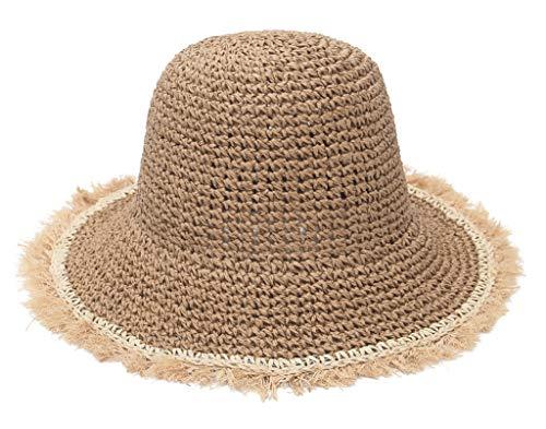 EOZY Sombrero de Paja Sombrero Plegable para Mujer, Bohemia Sun Floppy Hat Mujer Sombrero de la Playa ala Ancha para Viajes Vacaciones Verano