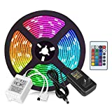 Led Strip Lights 16.4ft - RGB Changing Color Rope SMD2835 300LEDs Flexible Tape Colorful LED Strips Kit with 24 Key IR Remote for Home Kitchen Bedroom Bar Counter Cabinet Party Christmas Decoration