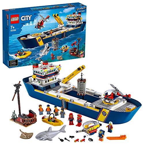 LEGO 60266 City Meeresforschungsschiff Schwimmendes Spielzeugboot, Tiefsee-Unterwasserset, Tauchabenteuer für Kinder