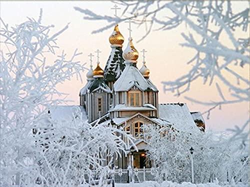 Bordado de diamantes paisaje de invierno iglesia imagen de diamantes de imitación mosaico kit de punto de cruz decoración del hogar pintura A1 60x80 cm