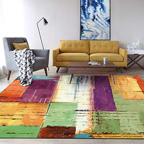 Alfombra de diseño Moderna Fantasy Cuadrado de Mosaico de colorPara Dormitorio Sala De Estar Comedor Piso Fácil de Limpiar 80x120CM(2'6''x4'0'')