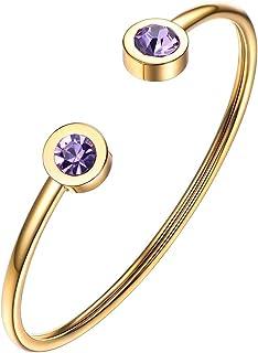 PROSTEEL Stainless Steel Birthstone Bracelet Jan - Dec Birthday Gift,Jewelry for Women,Girls,fit Wrist from 5.5''-7.6'' in...