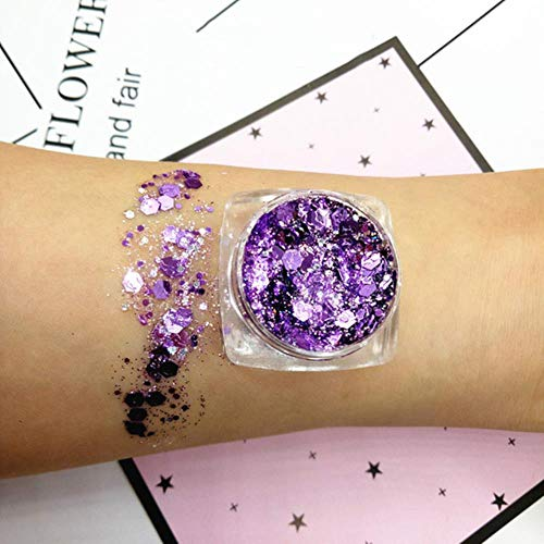 QINQ 30g 18 Couleurs Glitter Shimmer Fard À Paupières Visage Corps Oeil Bijoux Pigment Sequin Brillant Longue Durée Étanche Maquillage Outils, 04