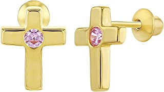 Yellow Gold Flashed 925 Sterling Silver Pink CZ Cross Screw Back Earrings