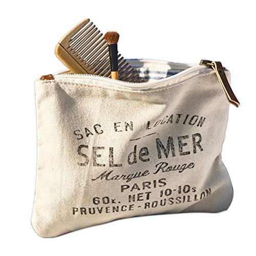 Loberon Täschchen Sel de Mer, Baumwolle/Büffelleder, H/B ca. 15/20 cm, beige