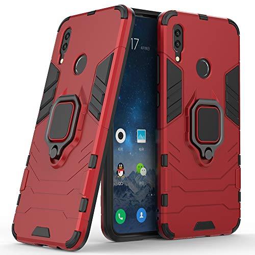 DESCHE para Funda Huawei P Smart 2019, Funda para Soporte de Anillo + Protector de Pantalla, Compatible con el Soporte magnético para automóvil (no Incluye un Soporte magnético) - Rosso