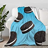 Multi-Styles Funny Food Oreo Cookies Dessert Flannel Soft Blanket Bed Throw Fit Bed,Sofa, Lap - Warm Cozy Quilt All Season(S 50'X40' Inch for Kid)