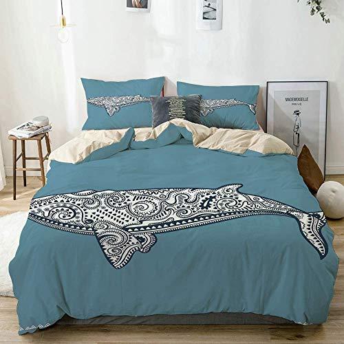Juego de funda nórdica beige, pez ballena étnica con símbolo de tótem y patrón kitsch antiguo de Paisley, juego de cama decorativo de 3 piezas con 2 fundas de almohada fácil cuidado antialérgico suave