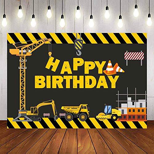 Avezano Bauthema Geburtstag Party Hintergrund 150 x 90 cm Muldenkipper Hintergrund Bagger Zone Jungen Geburtstag Party Dekoration Dessert Tisch Banner