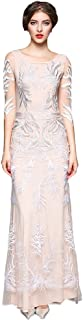 Women's Elegant Embroidered 3/4 Sleeve Tulle Maxi Evening Prom Dress