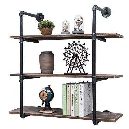 Industrial Pipe Shelves with Wood 3-TiersRustic Wall Mount Shelf 362inMetal Hung Bracket BookshelfDIY Storage Shelving Floating Shelves
