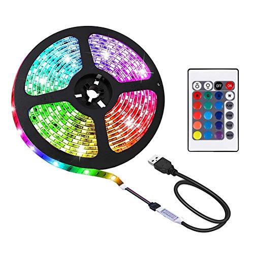 ACONDE 2M LED Streifen, USB LED Streifen Lichter mit 24 Tasten Fernbedienung, TV Hintergrundbeleuchtung [Energieklasse A+]
