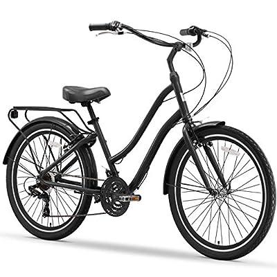 "sixthreezero EVRYjourney Steel Men's 21-Speed Sport Hybrid Cruiser Bike, 26"" Bicycle, Matte Black with Black Seat and Black Grips"