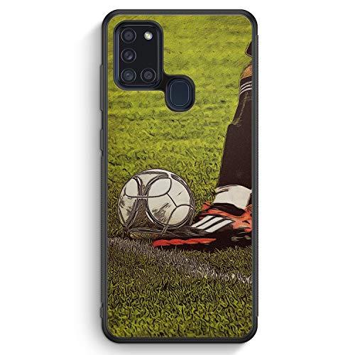 Fußball Schuss - Silikon Hülle für Samsung Galaxy A21s - Motiv Design Sport Jungs Männer Herren - Cover Handyhülle Schutzhülle Hülle Schale