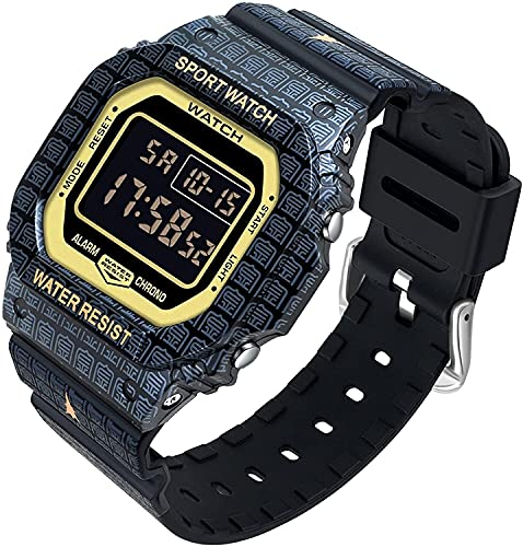 QHG Reloj de Lujo de Reloj de Estilo Cuadrado de Estilo Retro. DIRIGIÓ Visualización Digital a Prueba de Golpes Deportes Reloj de Reloj a Prueba de Agua (Color : Black)