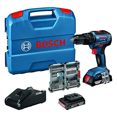 Bosch Professional 18 V System Taladro Percutor a Batería GSB 18 V-55, par de Torsión Hasta 55 Nm, Incluye 2x 2.0 Ah Batería + Cargador, 35 pcs, Accesorios de Impacto, en L-Case, Amazon Exclusive