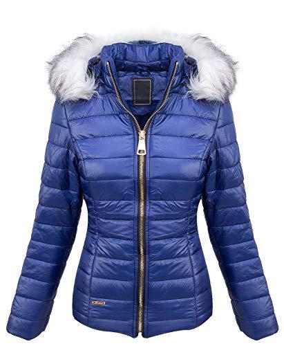 Rock Creek Designer Damen Stepp Jacke Winter Jacke Gesteppt Parka Mantel Kapuze Kunstfellkragen Warm Kurzjacke Kurzmantel D-409 Blau L