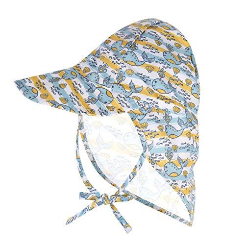 Babymütze UPF 50+ UV-Schutz Sonnenhut verstellbare Badekappe mit Nackenklappe (Color : JY, Size : S)