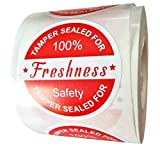 2' Red Food Delivery Tamper Evident Stickers Sealed for Freshness Labels - 500 Round Adhesive Stickers for Safe Food Delivery Take Out