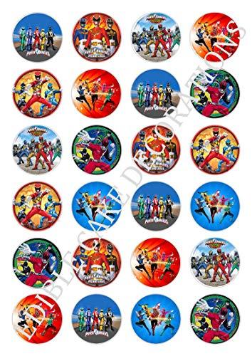 Tortendekoration aus Esspapier mit Motiven aus Power Rangers Celebration, für Cupcakes, 24 Stück