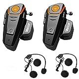 Veetop 2 x 800m Water Resistant Bluetooth Motorcycle Motorbike Helmet Intercom Interphone Headset for 2 or 3 riders and 2.5mm Audio for Walkie Talkie MP3 player GPS - Hands Free & FM radio (2Pack)