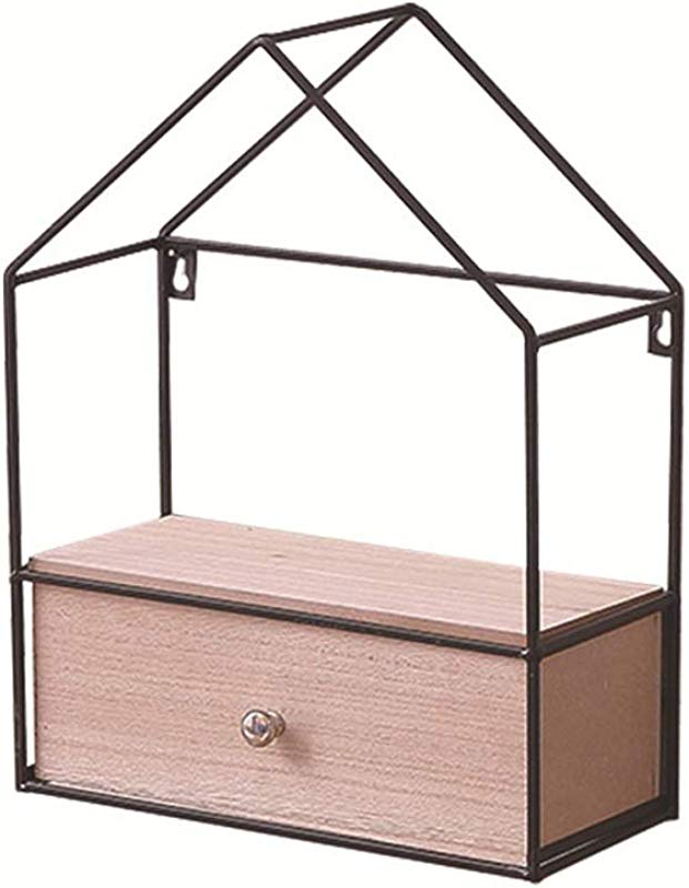 HongTeng Diy Triangle House Drawer Storage Cabinet Wrought Iron Solid Wood Wall Mount Rack