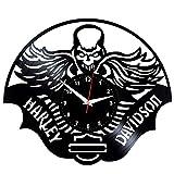 EVEVO Harley Davidson Reloj De Pared Vintage Diseño Moderno Reloj De Vinilo Colgante Reloj De Pared Reloj Único 12' Idea de Regalo Creativo Vinilo Pared Reloj Harley Davidson