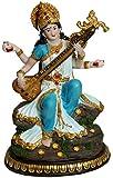 "Georgeous Saraswati Playing Vina 8"" Statue Sarasvati Idol Golu Doll"