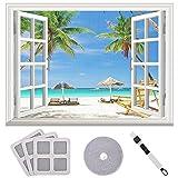 Queta Moskitonetz für Fenster Transparent Weiß Feinmaschiges Fenstergitter, Moskitonetz Moskitonetz Insektenschutzgitter mit Klettband Unsichtbarer Bildschirm 150cm x 200cm
