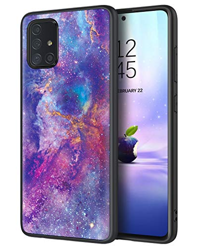 DUEDUE Galaxy A71 Case[5G Version], Nebula Galaxy Design Glow in The Dark Slim Hybrid Hard PC Cover Anti Slip PU Leather Shockproof Full Protective Case for Samsung Galaxy A71 5G 2020, Purple/Black