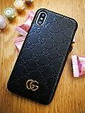 iPhone Xs Case, Black Premium PU Luxury Stylish Designer Fashion Leather Cover Case for iPhone X & Xs