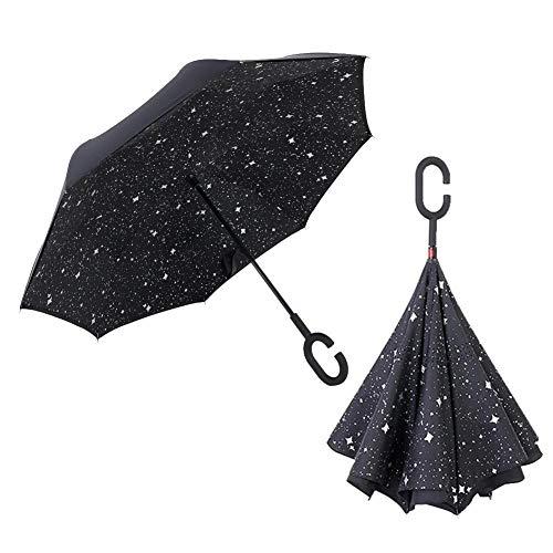 PoeticHouse Manico a Forma di C Ombrello Ribaltabile inverso Impugnatura Dritta Rod Doppio Strato invertito Ombrello Anti UV Antivento Umbrella di Viaggio per Auto all'aperto