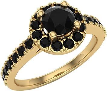 anillo con diamante negro redondo