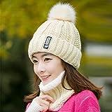 AOXQ Sombrero de Invierno Gorro de Mujer Gorro Grueso y cálido cráneo de Invierno de Punto Gorro de Mujer Gorro de Letra Gorro de Gorro Gorro de Montar al Aire Libre Conjunto de Bufanda-Beige