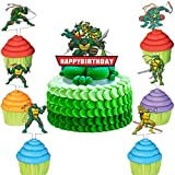 Acrylic Cute Tu_rtles Cake Toppers Birthday Cake Decorations Cute Tu_rtles Themed Party Favors for Kids Boys Girls Party Supplies(Set of 7PCS)