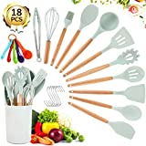 Silicone Cooking Utensil Set- VOMELON 18PCSSpatulas for Nonstick Cookware with Wooden HandleKitchen Gadgets Cooking ToolsHeat Resistant Turner Tongs Spatula Spoon Brush Whisk Set(Mint Green)