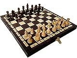 Khaplo - Jeux D'échecs en Bois De Luxe - Échiquier Pliable - Fabriqué À La Main - 31x31 Cm - Grand Plateau De Jeu - Modèle Babylon - Marron (31x31 cm, Marron - Babylon)