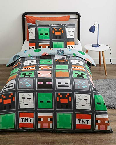 CnA Stores - Minecrft Mob Faces Single Duvet Cover Bedding Set Reversible with Pillowcase