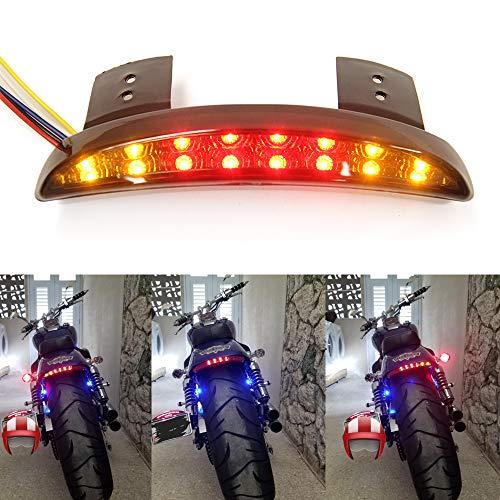 Motorcycle Chopped Rear Fender Edge LED Brake License Plate Tail Light Stop Running Light Turn Signal Lamp for Harley Sportster XL883N 1200N XL1200V XL1200X (Smoke Lens)
