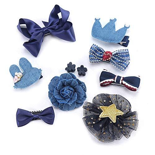 Ogquaton Pinces à Cheveux de Ruban de Fille de Prime 10pcs Set Mignon Bowknot Fleur Princesse Paillettes Barrettes à Cheveux, Bleu