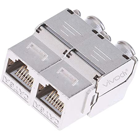 4X CAT6A Shielded Keystone Jack RJ45 Cat 6A Ethernet Module 10 Gbit with Shielded Metal Housing and DIN Rail Holders kwmobile Keystone Module Jacks