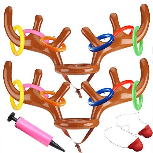 Milaloko 2Pcs Festa di Natale Toss Renna Gonfiabile Natale Antler Cappello con Anelli per Bambini Famiglia Uf with 2 Noses