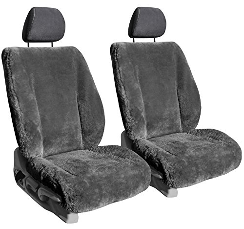 Front Seats: ShearComfort Custom Sheepskin Seat Covers for Toyota Tacoma (2016-2021) in Charcoal for Buckets w/Adjustable Headrests
