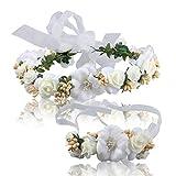 Ssowun Fletion Diadema Flores Mujer Accesorios para la Boda de Flores de muñeca Diadema Flores Novia...