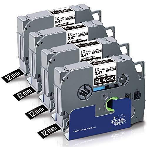 UniPlus Nastro per Etichette Compatibile In sostituzione di Brother P-touch Laminato Tape Cassetta TZe-335 TZ 335 12mm per PT H107 1000 H105 1010 Cube PT-P300BT H110 H100LB (Bianco su Nero, 4Pz)