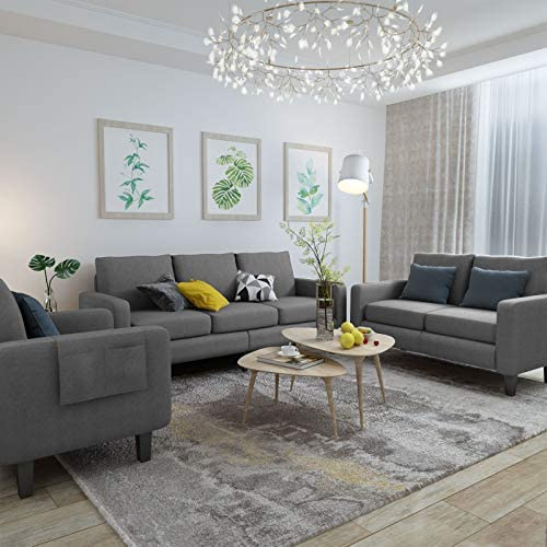Mecor 3 Piece Living Room Sofa Set Modern Fabric Couch Furniture Upholstered 3 Seat Sofa Couch product image