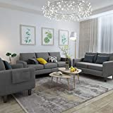 Mecor 3 Piece Living Room Sofa Set Modern Fabric Couch Furniture Upholstered 3 Seat Sofa Couch Loveseat Single Sofa Chair for Living Room, Bedroom, Office, Apartment, Dorm, Small Space