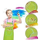 Malschürze Kinder, 2 Stück Kinder Schürzen Set mit Taschen, Kochschürze Kinder Jungen Mädchen, Verstellbare Kleinkind Kochschürze für Basteln Malen Backen Kochen, Grün und Gelb (8-12 Jahre) - 2